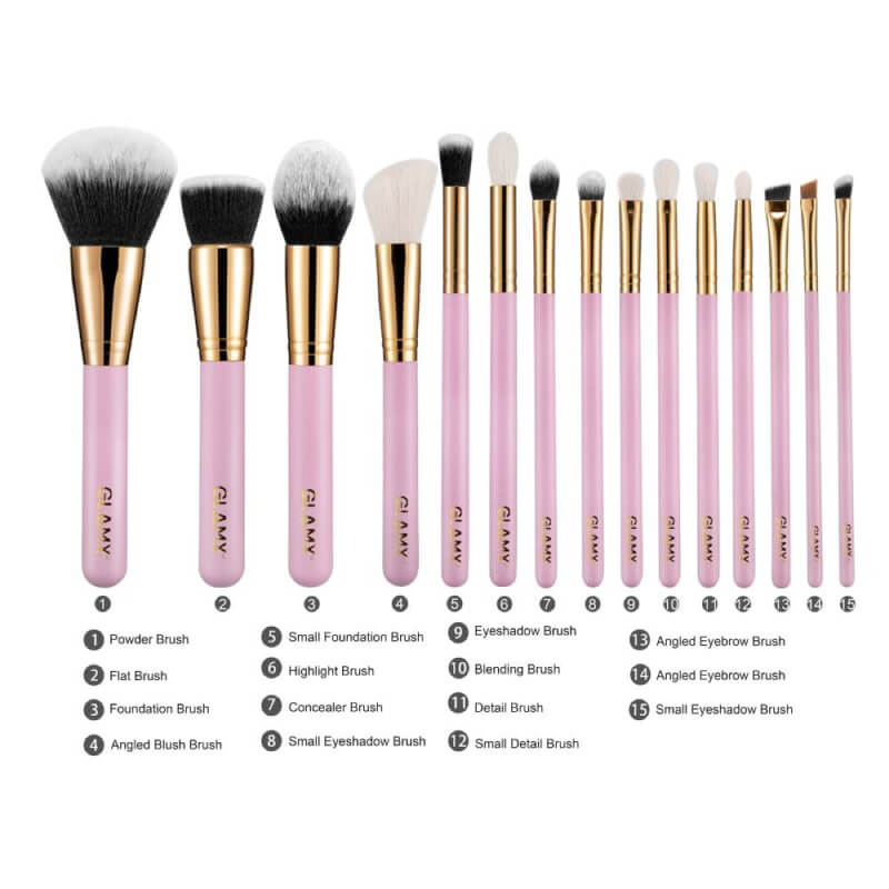 15 Piece Pink and Gold Makeup Brush Set   GLAMX GX41 by  GLAMX