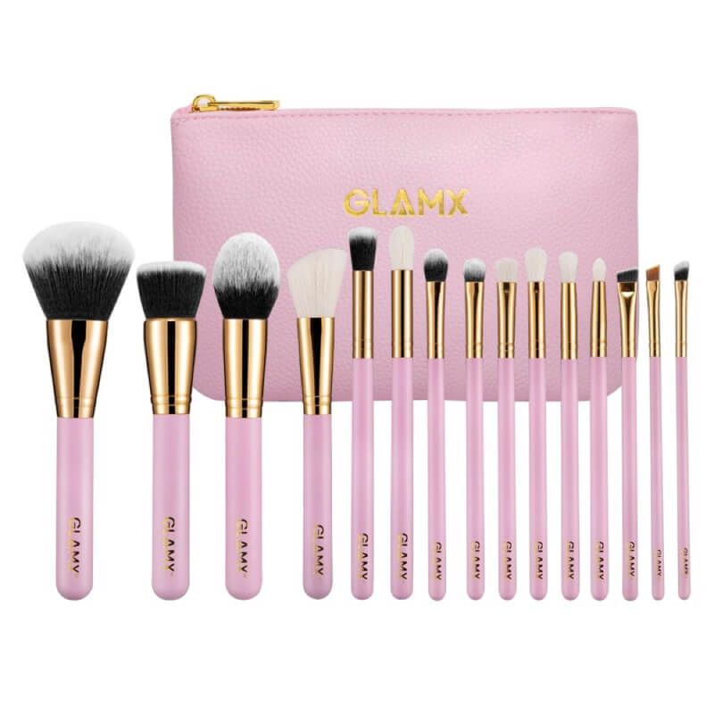 15 Piece Pink and Gold Makeup Brush Set | GX41 by GLAMX