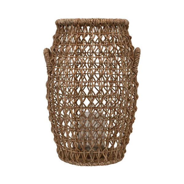 Hand Woven Water Hyacinth & Rattan Lantern with Glass Insert