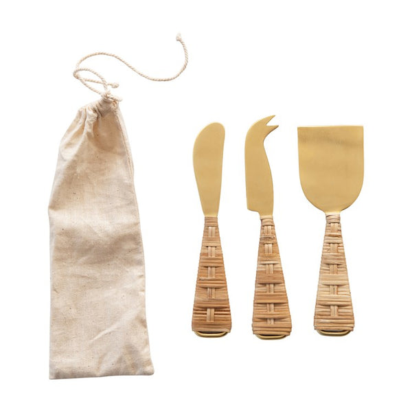 Cheese Knives w/ Rattan Wrapped Handles