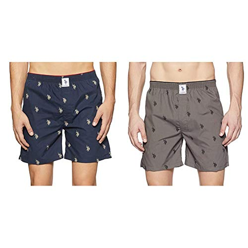 U.S. Polo Assn. Men's Cotton Boxers I021 (Pack Of 2 NAVY_GREY )