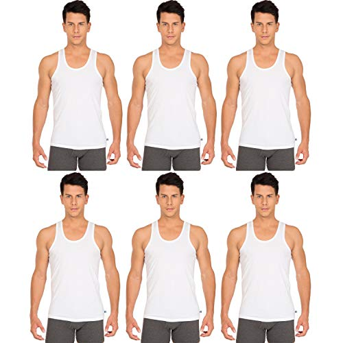 Jockey Men White Round Neck Sleeveless Plain/Solid Undershirt/Vest - (Pack of 6) (8820-White)