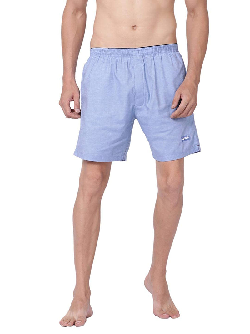 Levi's Men's Soft Cotton 300 LS Solid Plain Woven Boxer Shorts With Pockets (Pack of 1)