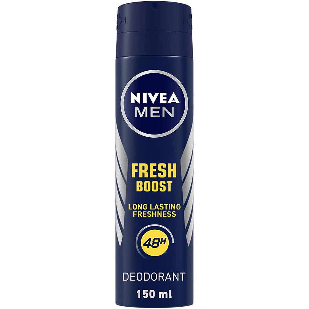NIVEA Men Deodorant, Fresh Boost, 48h Long lasting Freshness with Fresh Musk Scent, 150 ml