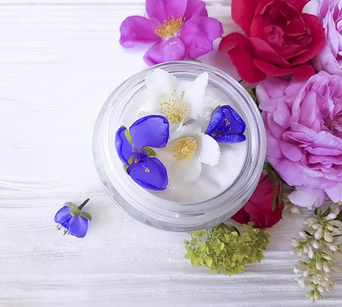 shea butter moisturiser that's covered in jasmine flowers and roses