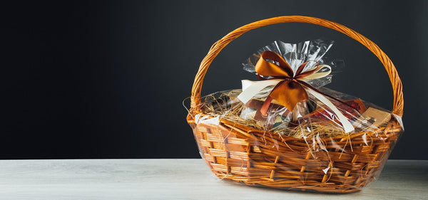 A gift basket including an assortment of different items.