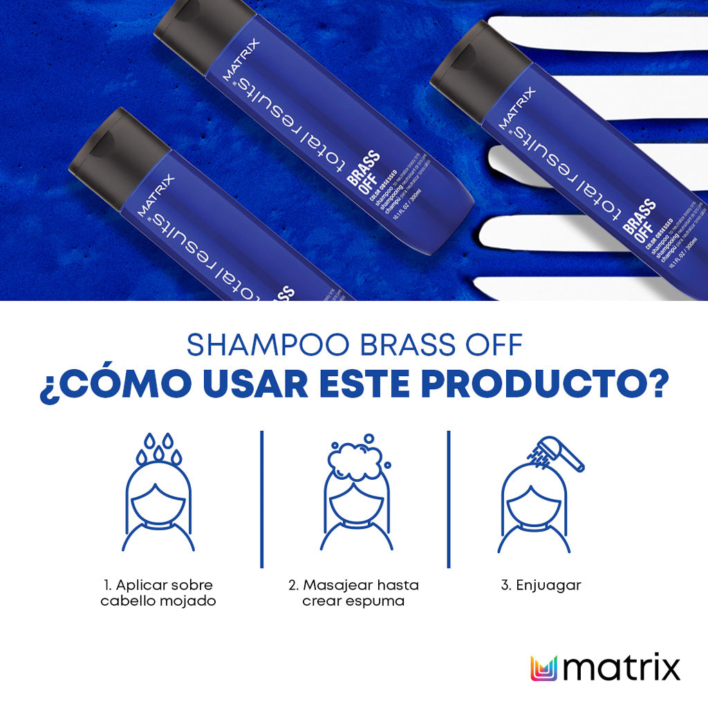 SHAMPOO PARA CABELLO LACIO ACLARANTE MATRIX [BRASS OFF] 300 ML - TOTAL.R
