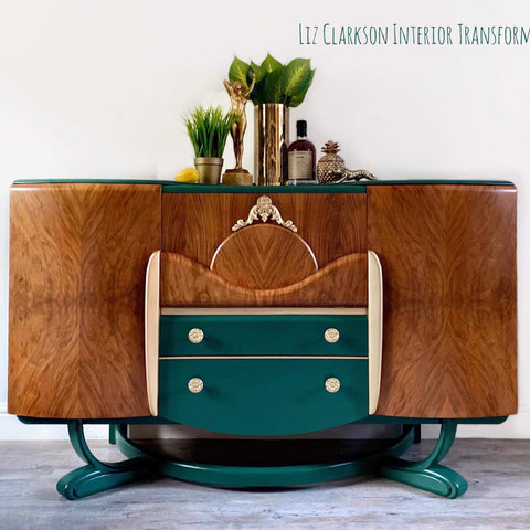 1940s Beautility Sideboard with walnut grain and dark green and gold accents