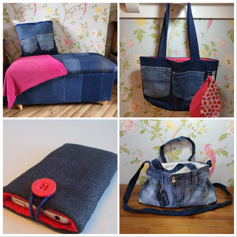Range of up cycled products from The Denim Upcycler