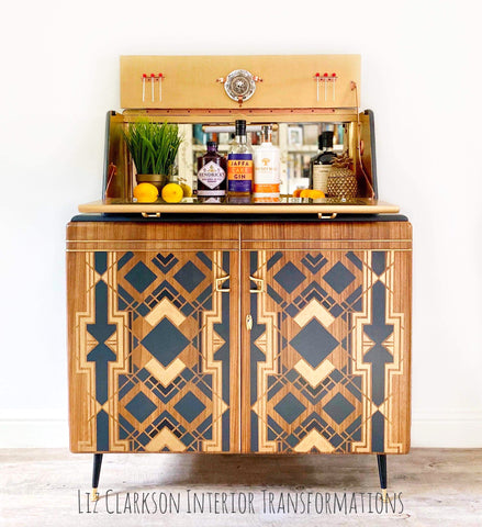 Burr walnut mid century drinks cabinet with charcoal and gold geometric stencil