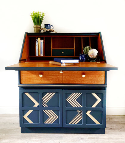 Nathan Bureau in navy blue with gold geometric pattern