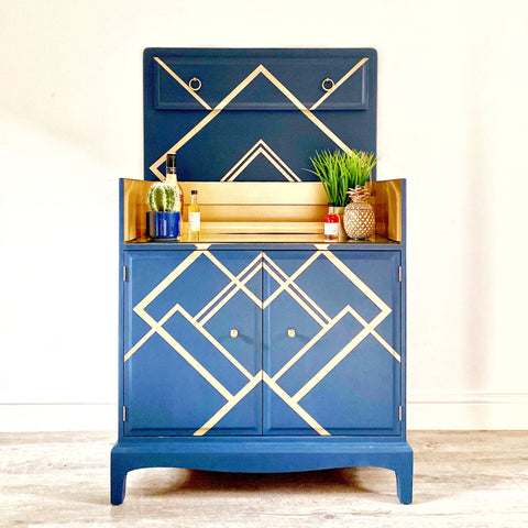 Ucycled Stag Minstrel Drinks Cabinet in Blue with gold geometric pattern
