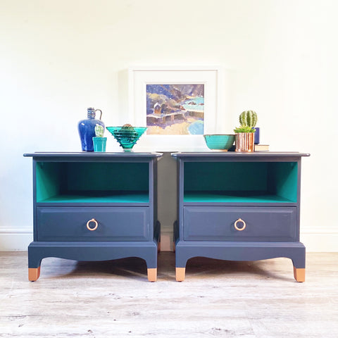 Stag Minstrel bedside cabinets refinished in Ash, Renfrew and copper