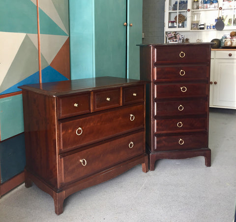 Photo of unfinished Stag Minstrel slim tallboy and chest of drawers
