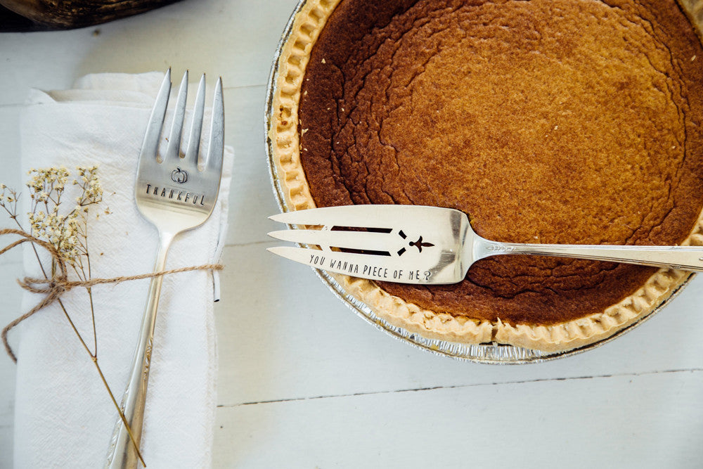 thankful serving fork pie server hand stamped vintage silverware for your table - Pie Server