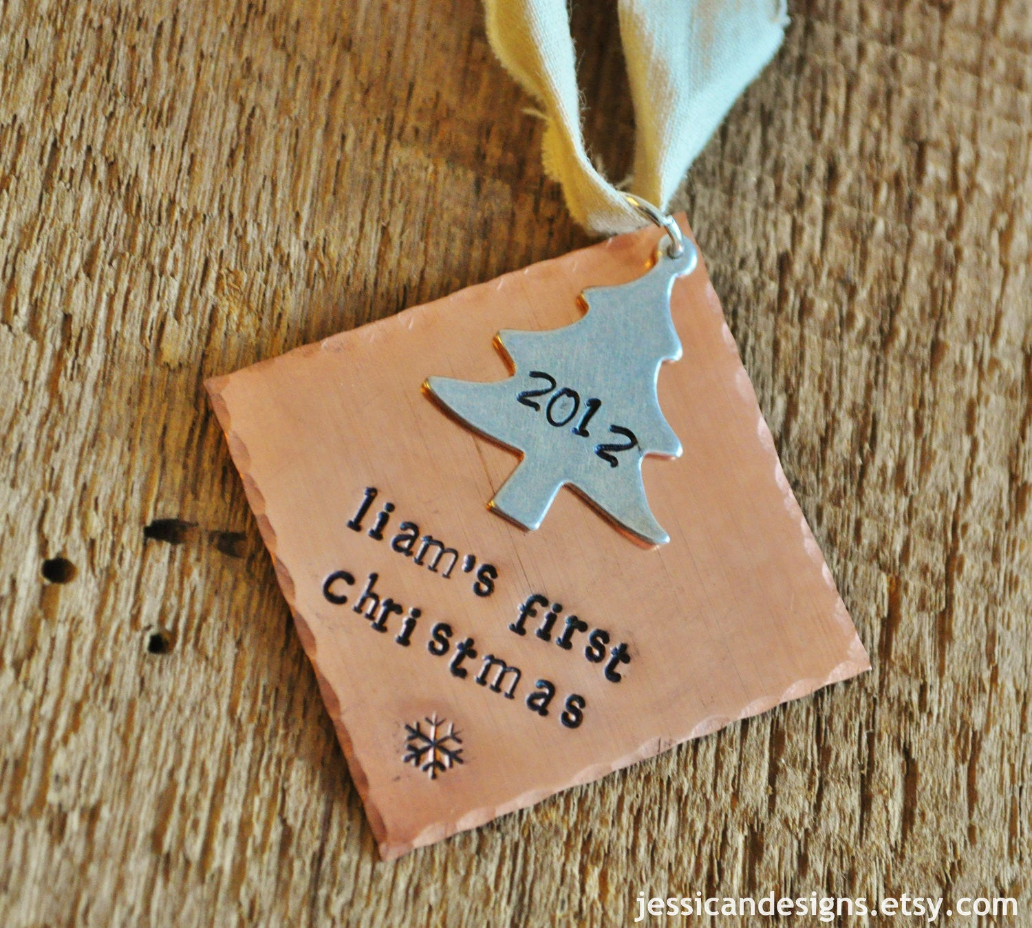 Personalized Babies First Christmas Ornament Hand Stamped Diamond Christmas  Tree Ornament As Seen On Disney Baby