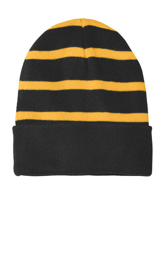 Sport-Tech Striped Beanie with Solid Bands