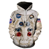 New Fashion Spring and Autumn 3D Printed Funny Hoodies Astronaut Hotstyle Pullover Sleeve Streetwear Sweatshirt