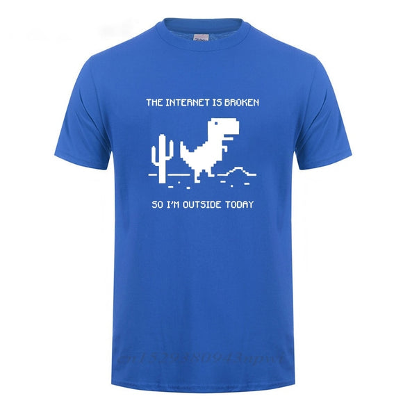 The Internet Is Broken Web Page Computer Dinosaur T-shirt Funny Birthday Gift For Men Boyfriend Husband Programmer Geek T Shirts