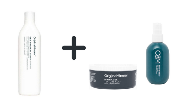 O&M Ultimate men care Detox shampoo + Surf Bomb + K-gravel