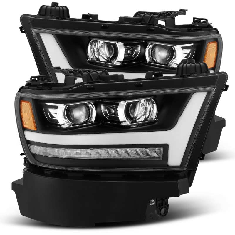 AlphaRex 19-20 Dodge Ram 1500 LUXX LED Proj Headlights Plnk Style Black w/Activ Light/Seq Signal/DRL