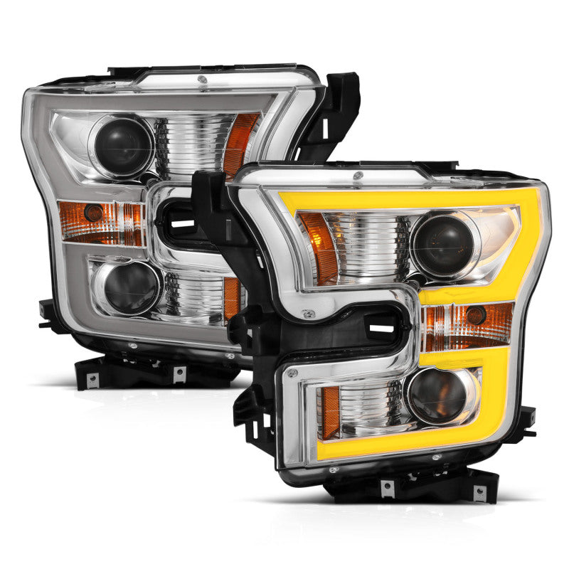 ANZO 2015-2017 Ford F-150 Projector Headlights w/ Plank Style Switchback Chrome w/ Amber