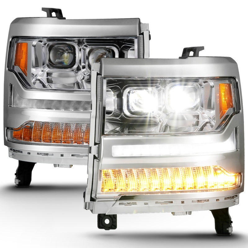 ANZO 16-18 Chevrolet Silverado 1500 LED Projector Headlights w/Plank Style Switchback Chrome w/Amber