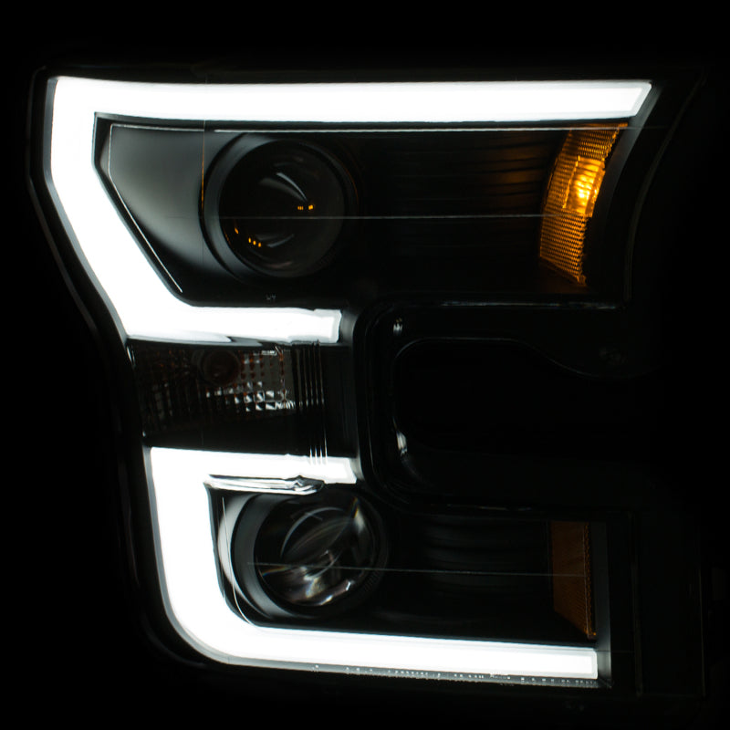 ANZO 2015-2016 Ford F-150 Projector Headlights w/ Plank Style Design Black w/ Amber