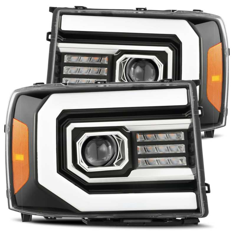 AlphaRex 07-13 GMC 1500HD PRO-Series Proj Headlights Plank Style Gloss Blk w/Activ Light/Seq Signal