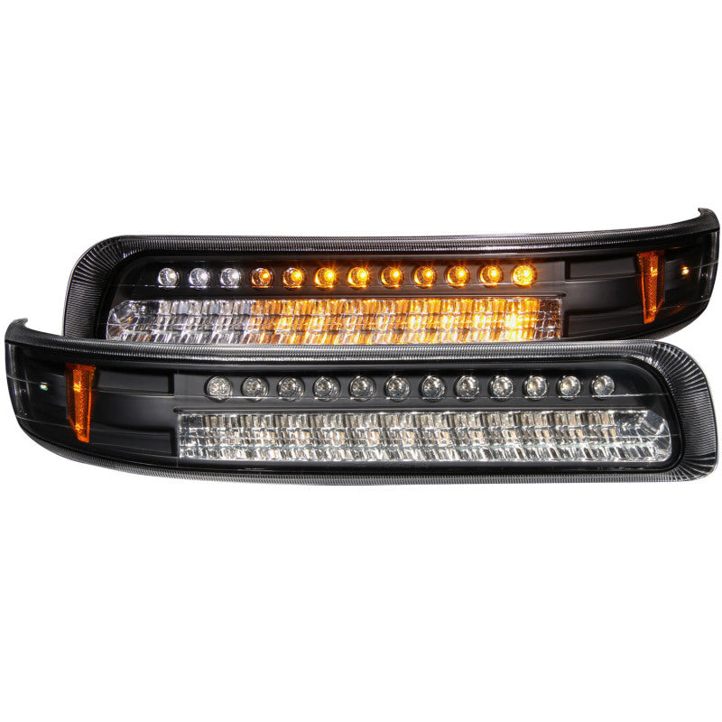 ANZO 1999-2002 Chevrolet Silverado 1500 LED Parking Lights Black w/ Amber Reflector