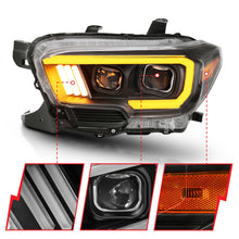 Load image into Gallery viewer, ANZO 2016-2017 Toyota Tacoma Projector Headlights w/ Plank Style Switchback Black w/ Amber