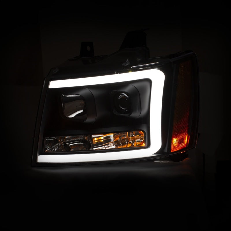 ANZO 07-14 Chevy Tahoe Projector Headlights w/ Plank Style Design Black w/ Amber