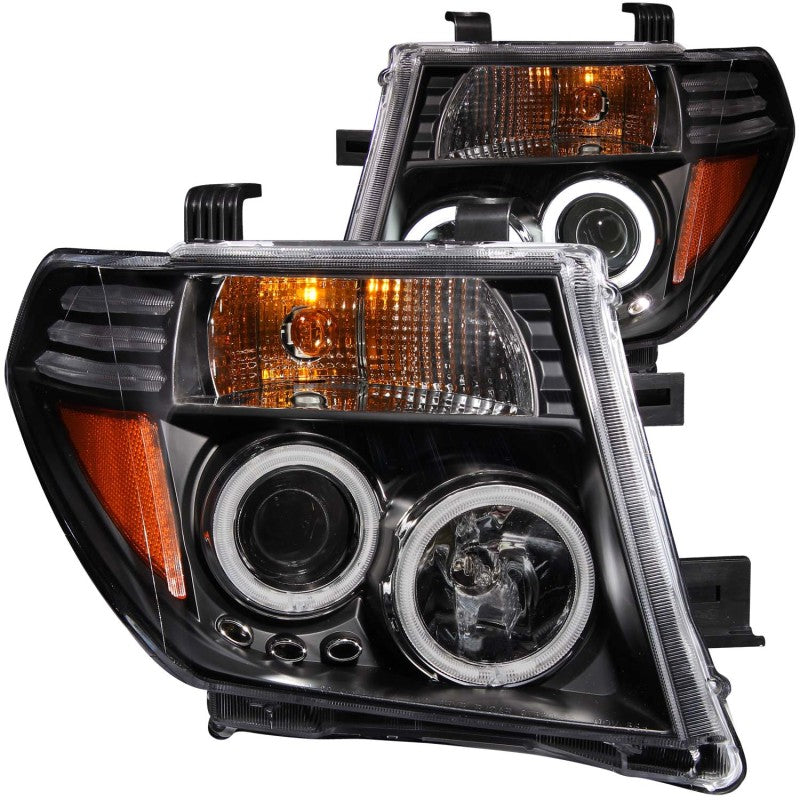 ANZO 2005-2008 Nissan Frontier Projector Headlights w/ Halo Black