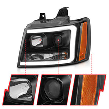 Load image into Gallery viewer, ANZO 07-14 Chevy Tahoe Projector Headlights w/ Plank Style Design Black w/ Amber