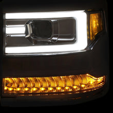 Load image into Gallery viewer, ANZO 16+ Chevy Silverado 1500 Projector Headlights Plank Style Chrome w/Amber/Sequential Turn Signal