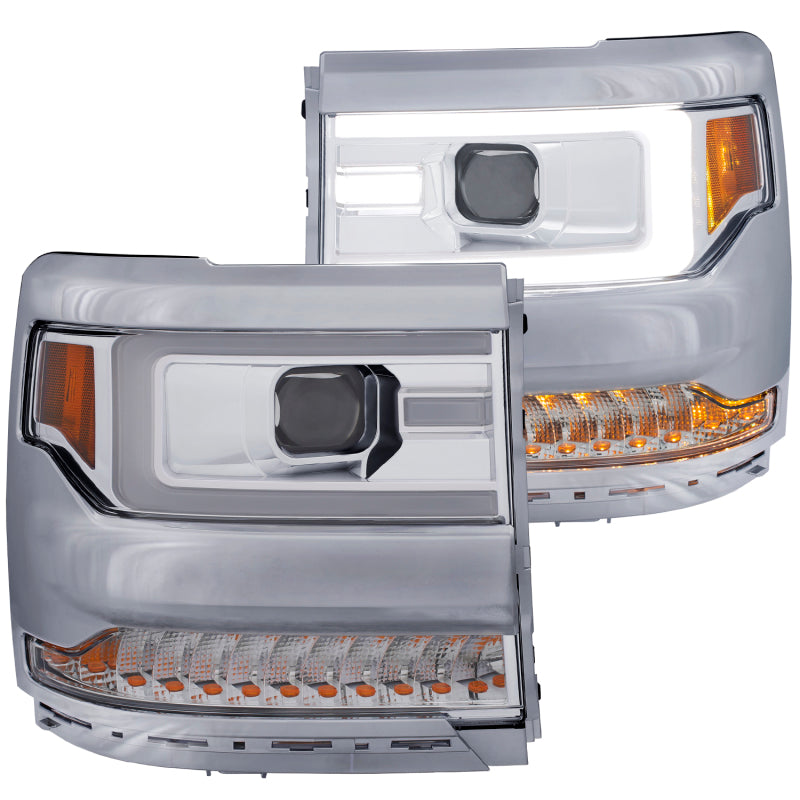 ANZO 16+ Chevy Silverado 1500 Projector Headlights Plank Style Chrome w/Amber/Sequential Turn Signal