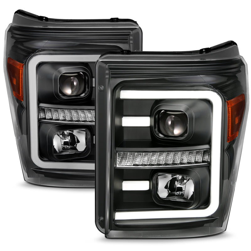 ANZO 2011-2016 Ford F250 Projector Headlights w/ Plank Style Switchback Black w/ Amber