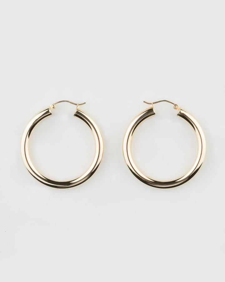 14k Yellow Gold Large Hoops
