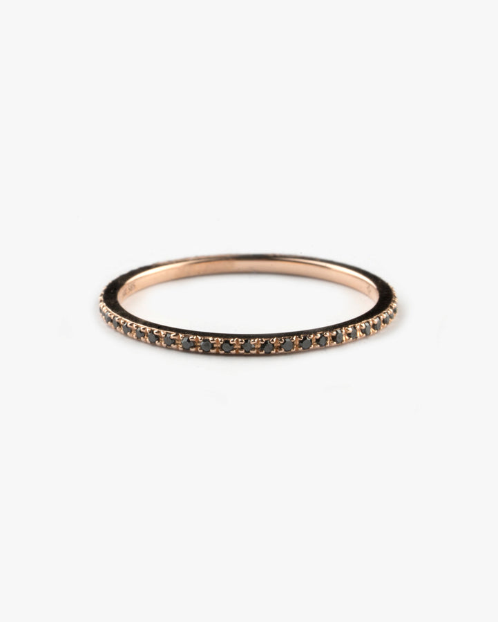 Classic Eternity Band 14k Rose Gold Black Diamonds