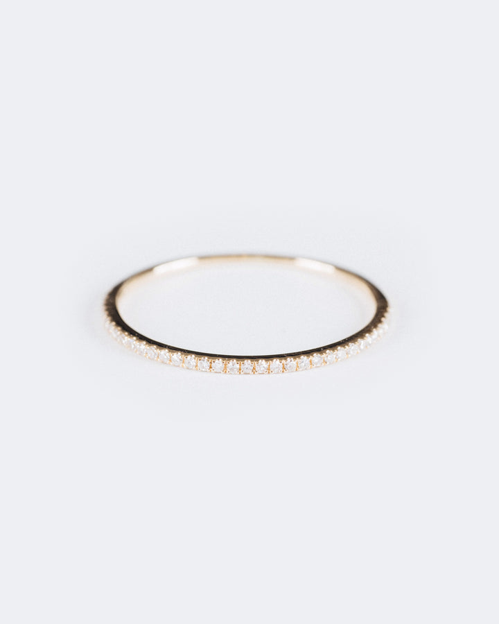 Half Pave Eternity Band Yellow Gold