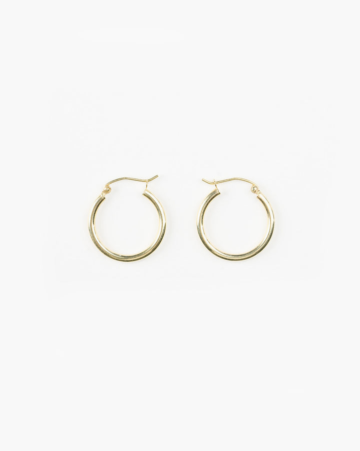 14k Yellow Gold Thin Small Hoops