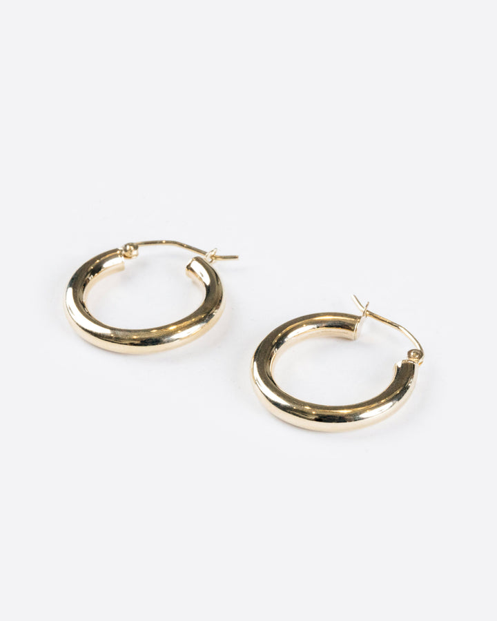 14k Yellow Gold Medium Hoops