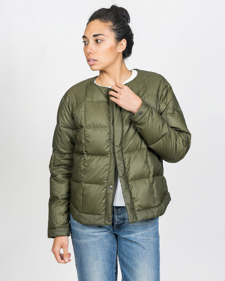 Unisex Down Cardigan Jacket Military Green