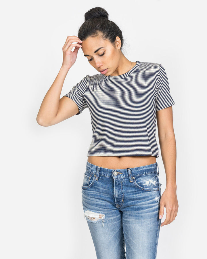 Crop Rampling Stripe Tee Navy