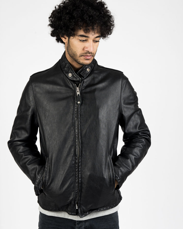 Vintaged Cowhide Café Racer Leather Jacket