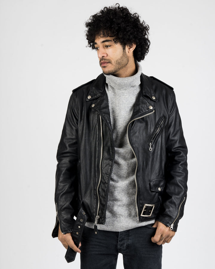 Vintage Cowhide Leather Motorcycle Jacket
