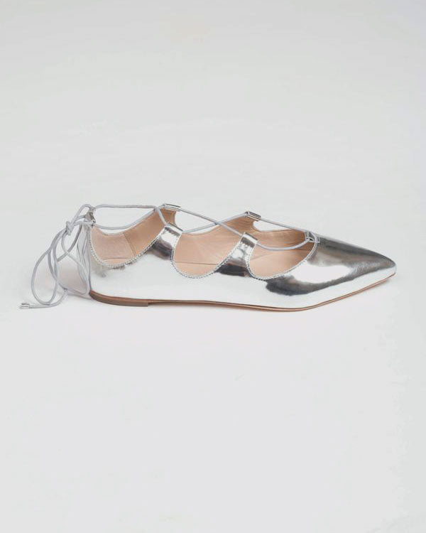 Ambra Mirror Leather Flat