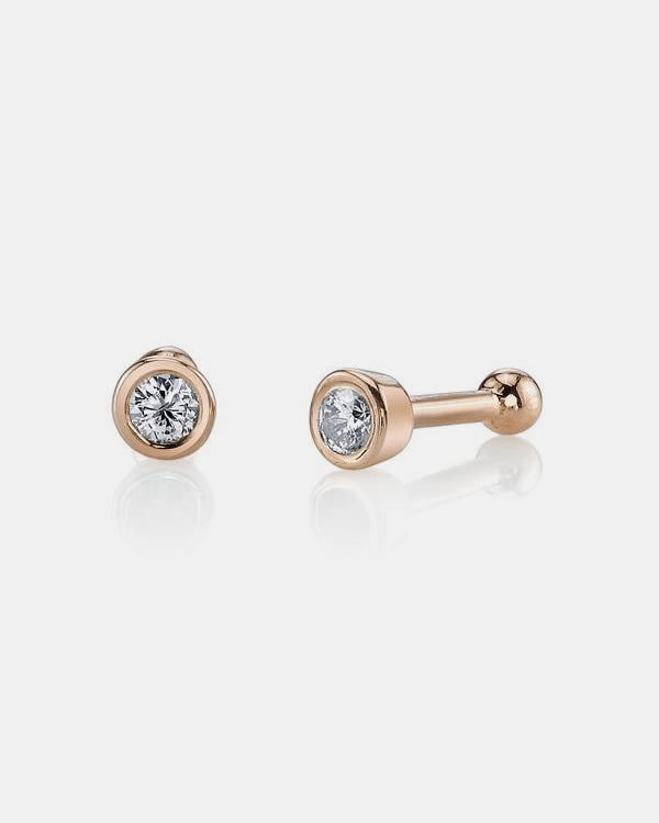 14k Rose Gold Bezel Studs Earrings