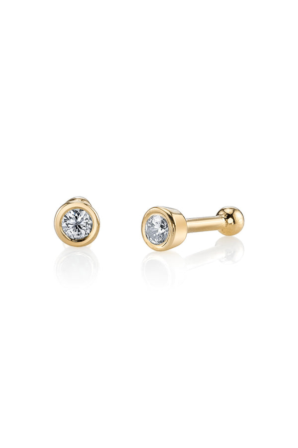 14k Yellow Gold Bezel Studs Black Diamonds
