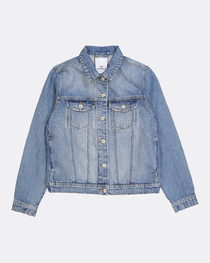 Seventeen Denim Jacket Distressed Blue